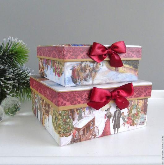 Упаковка ручной работы. Ярмарка Мастеров - ручная работа. Купить Коробка подарочная. Handmade. Елка, новогодний подарок, Декор