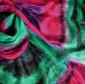 """Аксессуары ручной работы. Ярмарка Мастеров - ручная работа """"Изумруды и рубины"""", шелковый платок. Handmade."""