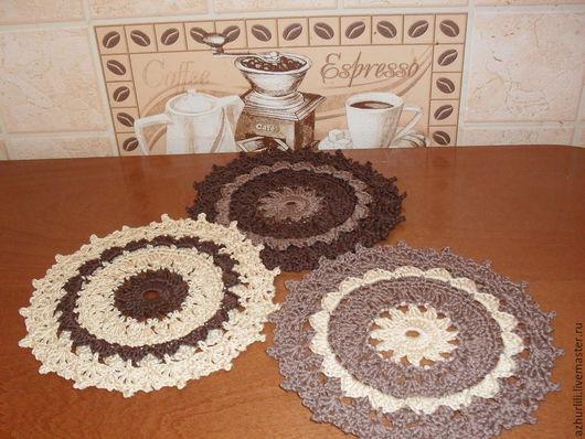 """Кухня ручной работы. Ярмарка Мастеров - ручная работа. Купить Комплект вязаных салфеток """"Трио"""". Можно заказать в других цветах.. Handmade."""