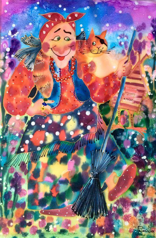 Фантазийные сюжеты ручной работы. Ярмарка Мастеров - ручная работа. Купить Баба Ежка. Handmade. Комбинированный, Картины и панно