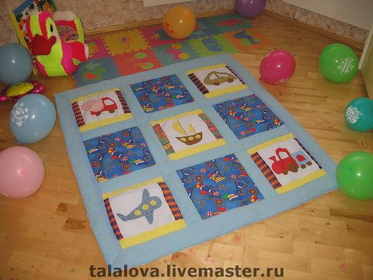 """Детская ручной работы. Ярмарка Мастеров - ручная работа. Купить Лоскутное одеяло """"Для мальчишек"""". Handmade. Лоскутное одеяло, синий"""