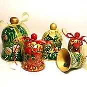 Колокольчики ручной работы. Ярмарка Мастеров - ручная работа Колокольчики: Колокольчики деревянные расписаны в стиле хохлома. Handmade.