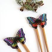 Украшения handmade. Livemaster - original item Wooden hairpin made of ash, beech, acacia with a colored butterfly. Handmade.