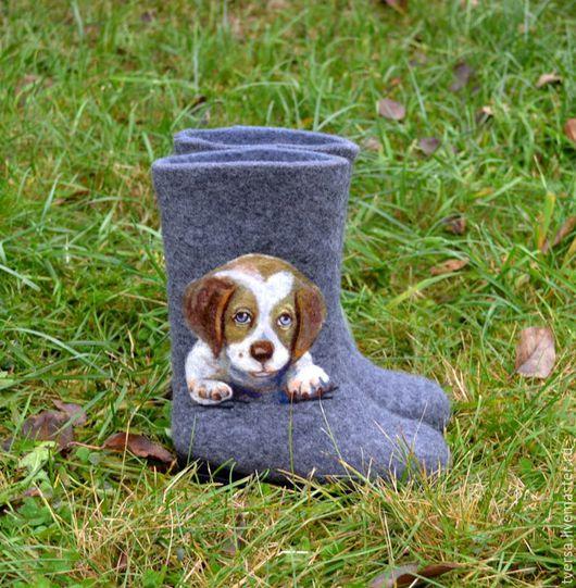 Обувь ручной работы. Ярмарка Мастеров - ручная работа. Купить Валенки ручной работы для улицы на подошве детские Мой щеночек. Handmade.