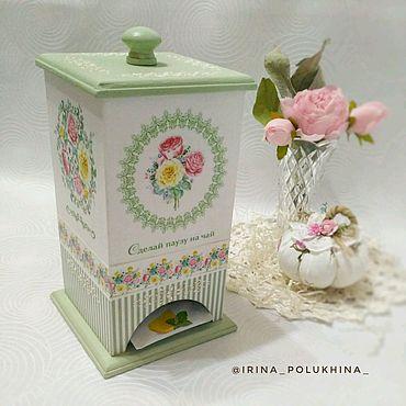 Для дома и интерьера ручной работы. Ярмарка Мастеров - ручная работа Домик для чая выполнен в технике декупаж. Handmade.