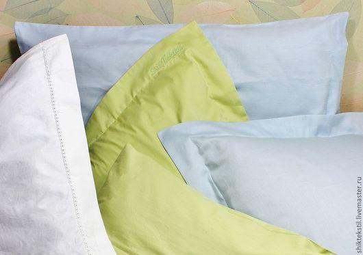 """Текстиль, ковры ручной работы. Ярмарка Мастеров - ручная работа. Купить Наволочки на подушки сатиновые """"зеленый свет"""". 100% хлопок. Handmade."""