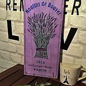 Картины и панно ручной работы. Ярмарка Мастеров - ручная работа Панно деревянное Лаванда. Handmade.