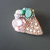 Украшения handmade. Livemaster - original item Ice cream brooch. Swarovski crystals. pearls. seed beads. Handmade.