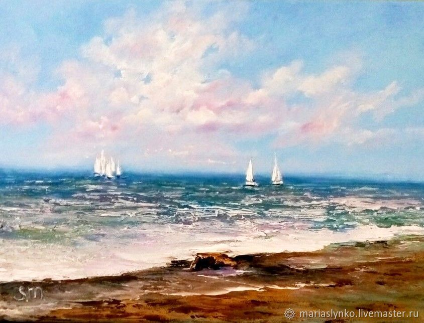 Oil painting sea Sailboats Sredizemie sea, Pictures, Alicante,  Фото №1