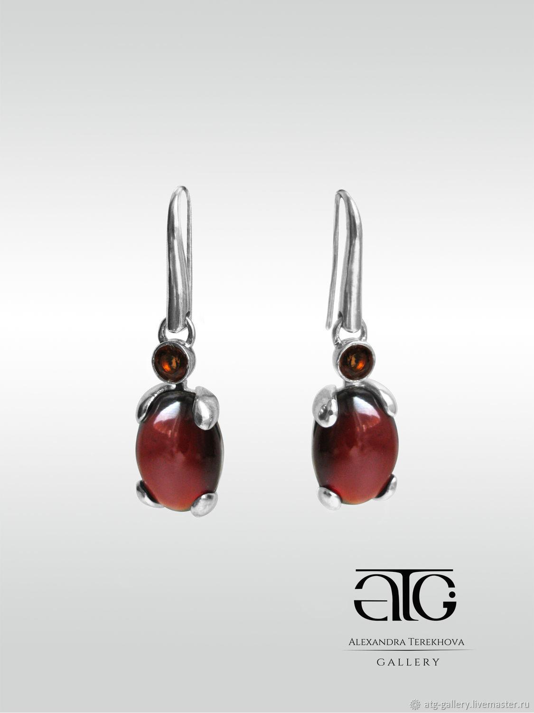 Luxury large earrings with hessonite garnets 27.85 Carat!