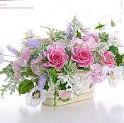 Цветы и флористика ручной работы. Ярмарка Мастеров - ручная работа Букет цветов в металлическом кашпо. Handmade.