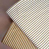 Ткани ручной работы. Ярмарка Мастеров - ручная работа Ткань Полоски бежевые, сатин, 100% хлопок. Handmade.