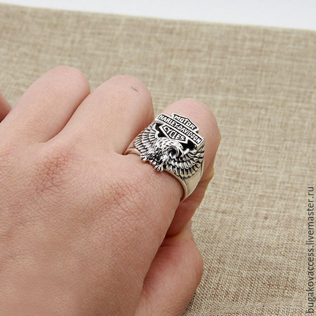 Mens Harley Davidson ring of silver 925 with an eagle shop online