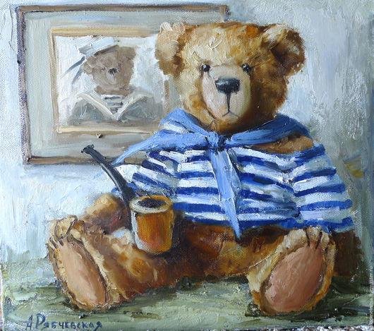 Репродукции ручной работы. Ярмарка Мастеров - ручная работа. Купить Тедди моряк. Handmade. Тедди мишка, панно на стену