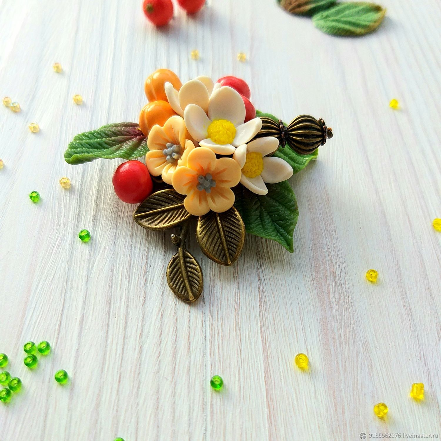 Brooch Cute autumn berries, white and yellow flowers, green leaves, Brooch-clip, Taganrog,  Фото №1