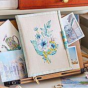 Органайзер ручной работы. Ярмарка Мастеров - ручная работа Мятно-золотой органайзер-книжка для вышивальщицы. Handmade.