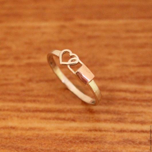Кольца ручной работы. Ярмарка Мастеров - ручная работа. Купить Серебряное кольцо Сердце с золотой накладкой, серебро 925. Handmade.