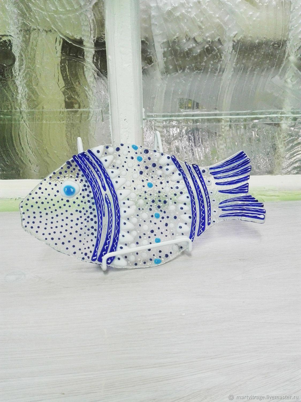 Сервировочная тарелка Рыбка. Стекло.Фьюзинг, Тарелки, Москва,  Фото №1