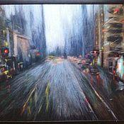 """Картины и панно ручной работы. Ярмарка Мастеров - ручная работа картина из шерсти """" Дождливый  день на М.ст. """". Handmade."""