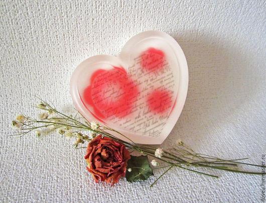 """Мыло ручной работы. Ярмарка Мастеров - ручная работа. Купить Мыло """"Признание"""", подарки на 8 марта, шебби, красный, белый, сердце. Handmade."""