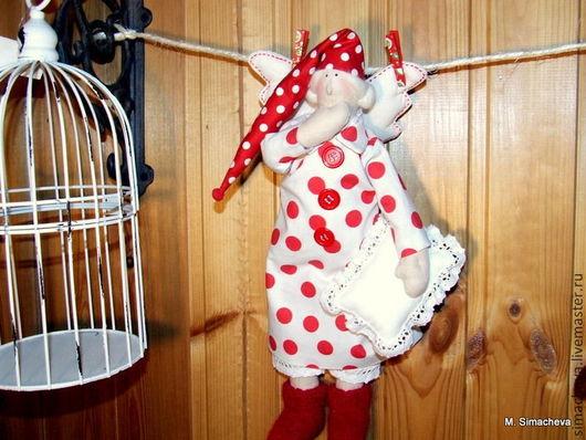 Куклы Тильды ручной работы. Ярмарка Мастеров - ручная работа. Купить Сонный ангел в красный горошек. Handmade. Ангел