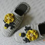 """Обувь ручной работы. Ярмарка Мастеров - ручная работа """"Оливковые Маки"""" тапочки (38-39 р-р) (подошва валяная). Handmade."""