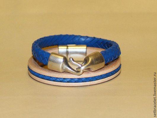 Браслеты ручной работы. Ярмарка Мастеров - ручная работа. Купить Комплект женских кожаных браслетов, натуральный, синий. Handmade. Синий