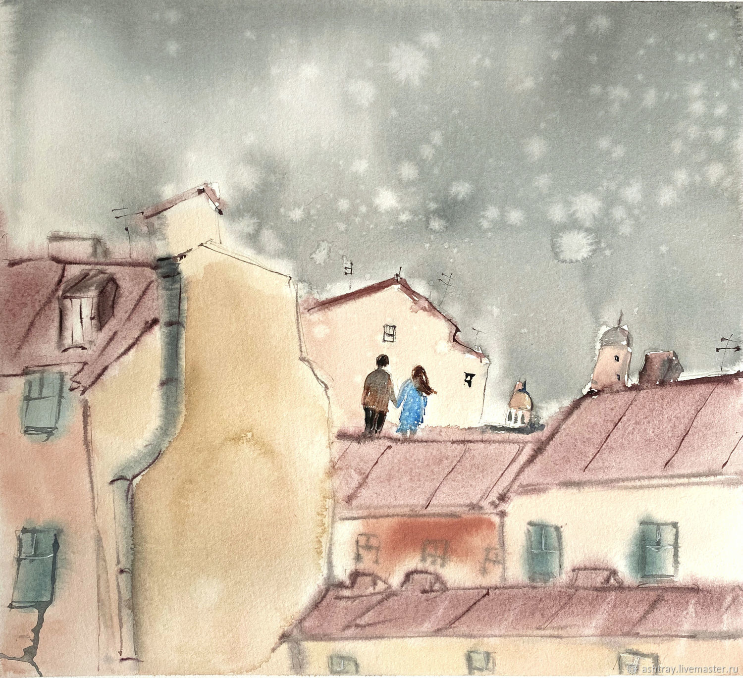 'Let's go look at the first snow ' aquarelle (Saint Petersburg), Pictures, Korsakov,  Фото №1