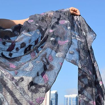 Accessories handmade. Livemaster - original item Grey silk handkerchief Felted scarf with cucumbers Cape on dress Handkerchief. Handmade.