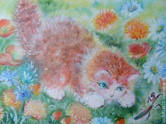 """Животные ручной работы. Ярмарка Мастеров - ручная работа. Купить Маленькая картина для души """"Котёнок на лужайке"""" рыжий. Handmade. Рыжий"""