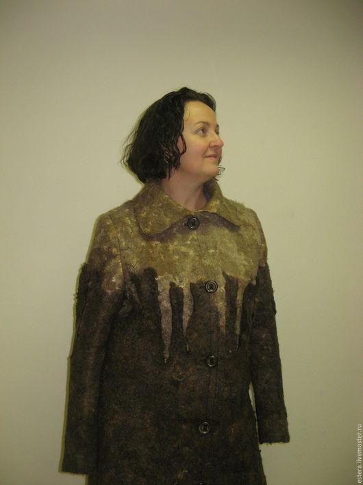 """Верхняя одежда ручной работы. Ярмарка Мастеров - ручная работа. Купить Пальто """"Капуччино"""" валяное, размер 52. Handmade."""