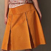 Одежда handmade. Livemaster - original item Suede skirt in fiery orange color. Handmade.