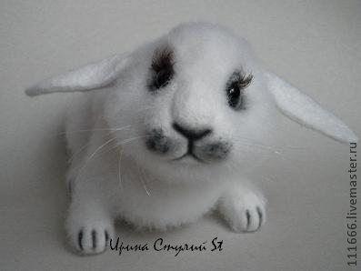 """Игрушки животные, ручной работы. Ярмарка Мастеров - ручная работа. Купить Игрушка из шерсти """"Крольчонок"""". Handmade. Белый, войлочная игрушка"""