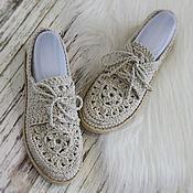 Обувь ручной работы. Ярмарка Мастеров - ручная работа РЕЗЕРВ Мокасины льняные вязаные. Handmade.
