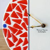 """Для дома и интерьера ручной работы. Ярмарка Мастеров - ручная работа Часы настенные круглые """"Оранж"""", фьюзинг, 26 см. Handmade."""