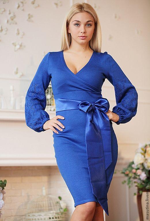 """Платья ручной работы. Ярмарка Мастеров - ручная работа. Купить Платье """"Синяя птица"""". Handmade. Синий, полушерсть"""
