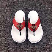 Обувь ручной работы handmade. Livemaster - original item Slippers for women, beach crocodile leather in red.. Handmade.