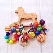 Куклы и игрушки ручной работы. Ярмарка Мастеров - ручная работа Буковый грызунок Лошадка с подвесками из разных бусин (2). Handmade.