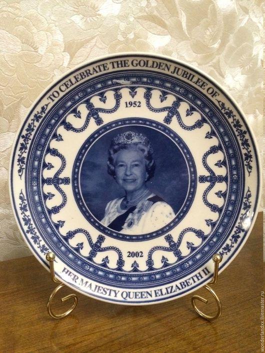 Элементы интерьера ручной работы. Ярмарка Мастеров - ручная работа. Купить Памятная тарелка к 50 летнему юбилею правления королеву Англии. Handmade.