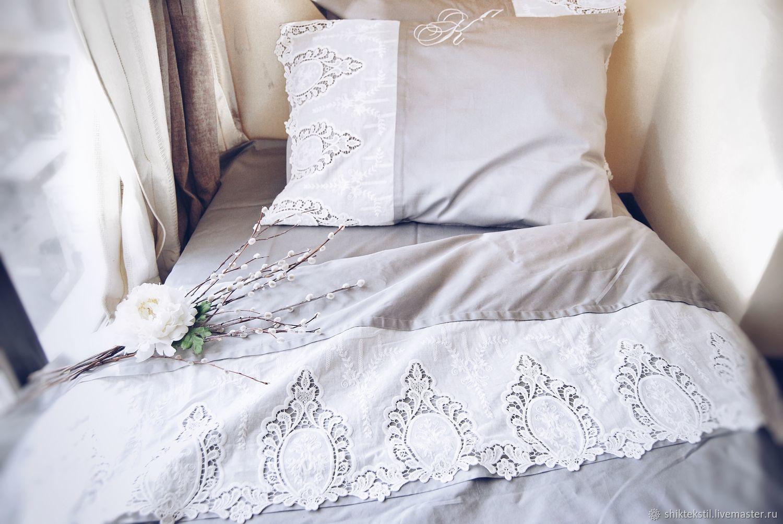 Подарок на свадьбу. Постельное белье прованс из серого люкс сатина, Подарки, Самара,  Фото №1
