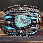 Украшения handmade. Livemaster - original item Brown and blue bracelet with jasper in the Boho style
