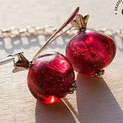 "Украшения handmade. Livemaster - original item ""Pomegranate"" - lampwork glass pendant, earrings. Handmade."