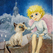 Сувениры и подарки handmade. Livemaster - original item Angel and Siamese kitten Postcard or picture Reproduction. Handmade.