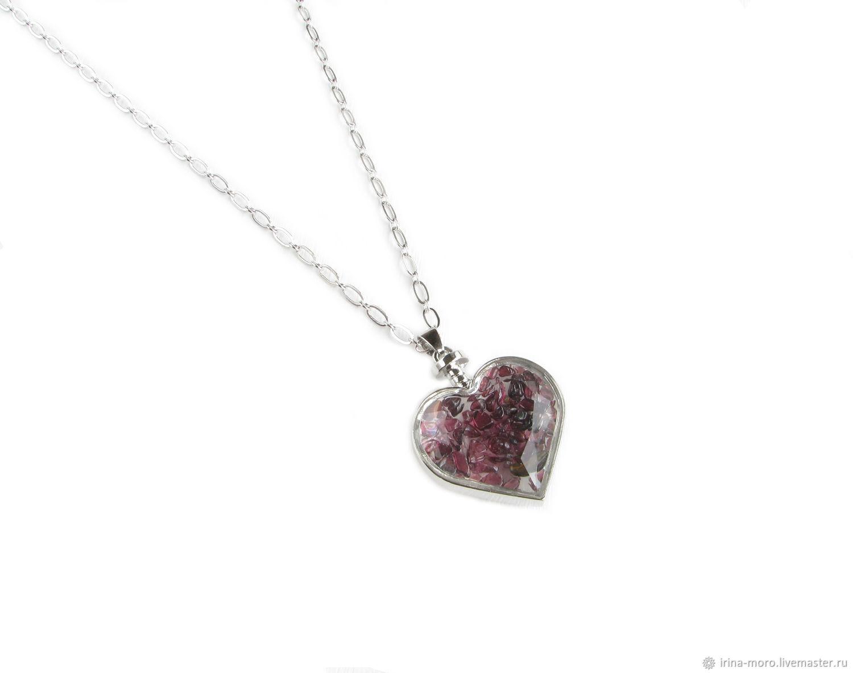Heart pendant with garnet, Garnet pendant, Heart pendant, Pendants, Moscow,  Фото №1