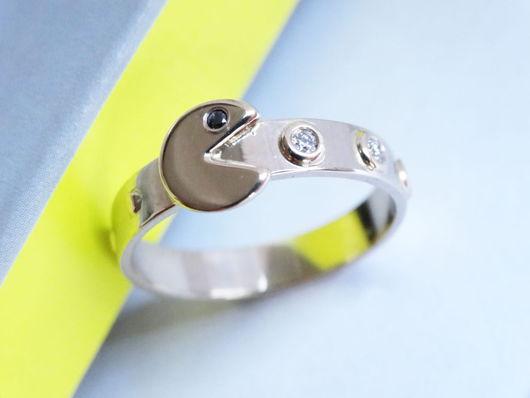Кольца ручной работы. Ярмарка Мастеров - ручная работа. Купить Золотое кольцо Пакман с бриллиантами. Handmade. Серебряный, ювелирное украшение