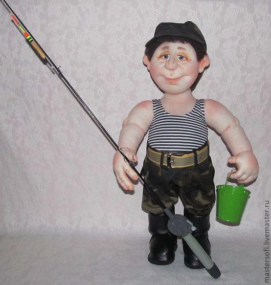 Коллекционные куклы ручной работы. Ярмарка Мастеров - ручная работа. Купить На рыбалку! На рыбалку!!! Кукла рыбак в технике скульптурный текстиль.. Handmade.