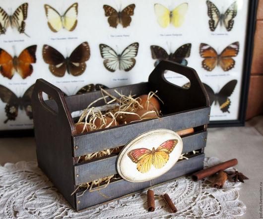 """Корзины, коробы ручной работы. Ярмарка Мастеров - ручная работа. Купить Ящик """"Бабочки"""". Handmade. Кухня Прованс, сено, дерево"""