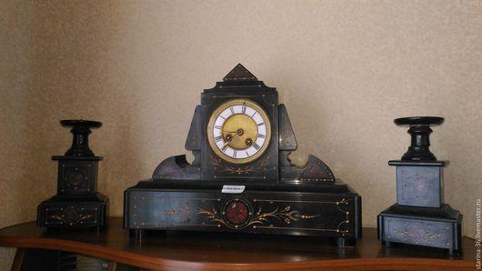 Часы для дома ручной работы. Ярмарка Мастеров - ручная работа. Купить Часы с подсвечниками. Мрамор. Франция.. Handmade. Черный
