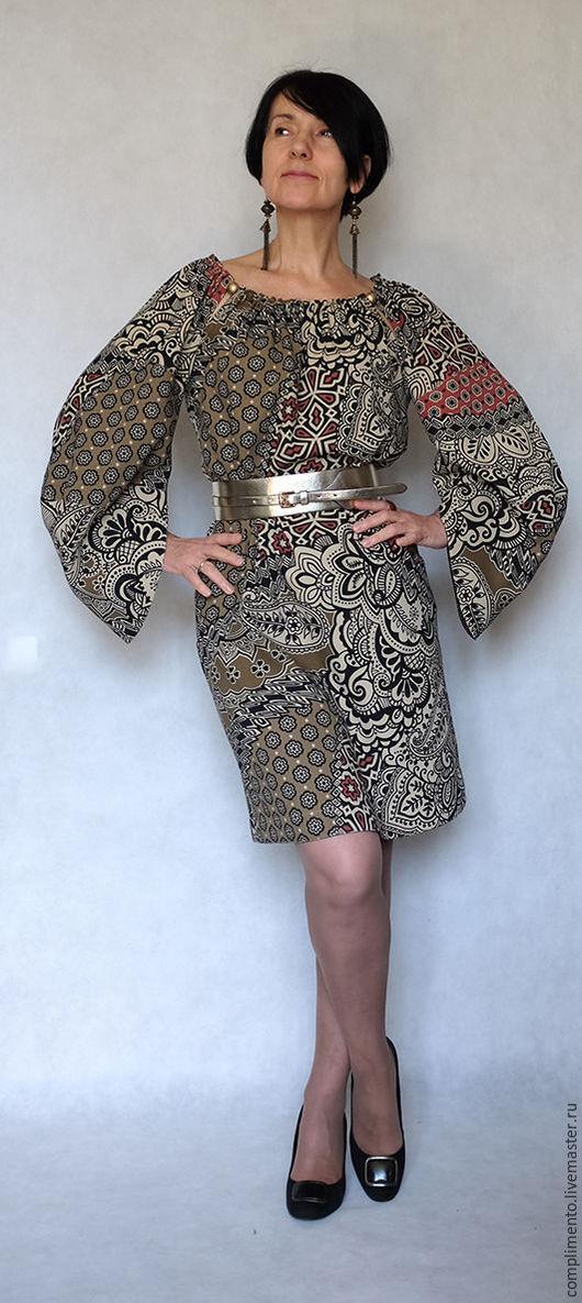 Платья ручной работы. Ярмарка Мастеров - ручная работа. Купить Платье прямого силуэта МОЗАИКА. Handmade. Комбинированный, разрез