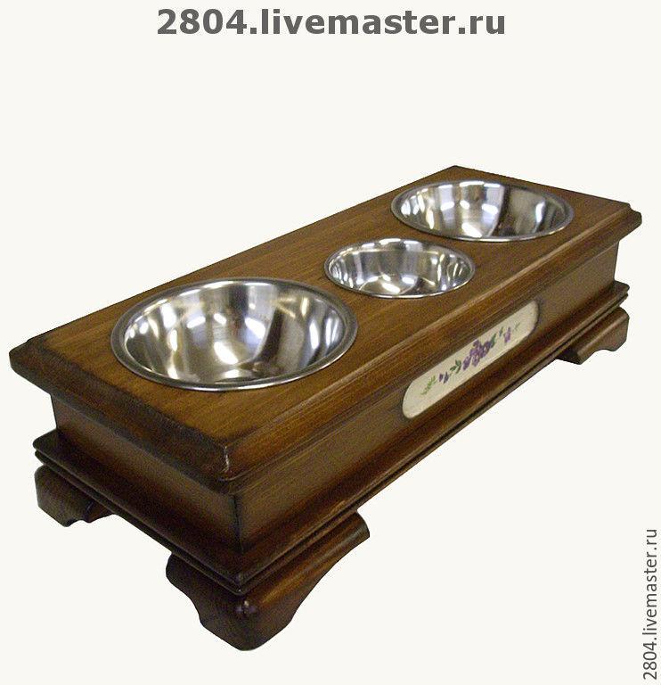 Аксессуары для собак, ручной работы. Ярмарка Мастеров - ручная работа. Купить Деревянная подставка с десертной миской. Handmade. Для собак